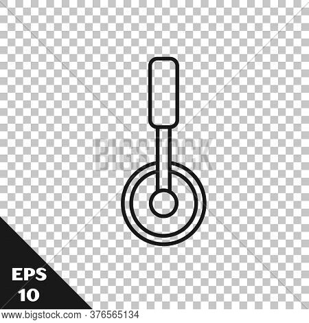 Black Line Pizza Knife Icon Isolated On Transparent Background. Pizza Cutter Sign. Steel Kitchenware