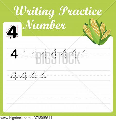 Funny Children Flashcard Number Four. Number Four Tracing Practice Worksheet With 4 Corn For Kids Le