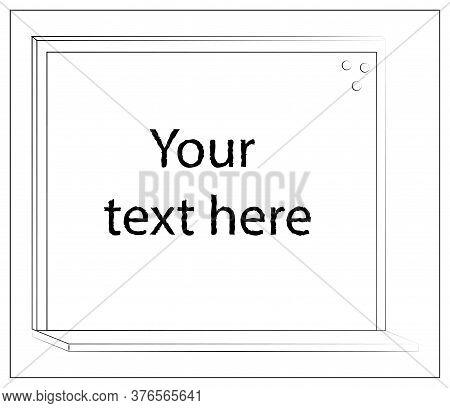 Vector Silhouette Of Empty Blackboard Icon. Outline Vector Illustration Of School Blackboard For Log