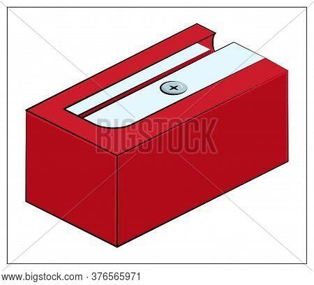 Vector Red Sharpener Icon. Flat Vector Illustration Of Sharpener For Pencil For Web Design, Logo, Ic