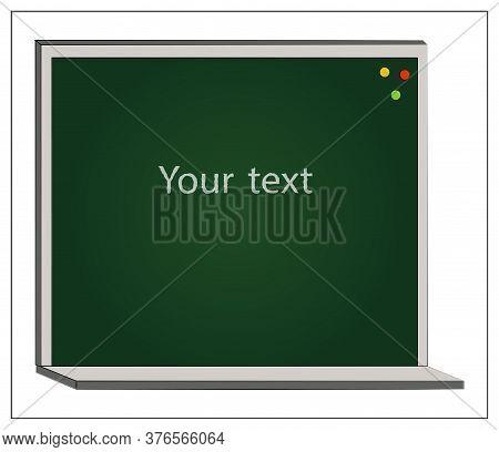 Vector Empty Blackboard Icon. Flat Vector Illustration Of School Blackboard For Web Design, Logo, Ic