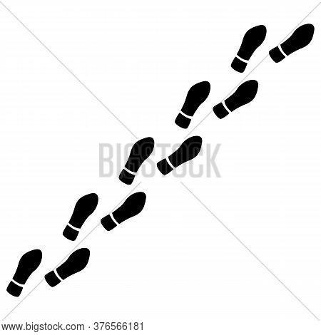 Human Foot Prints Path With Tag Points. Traveler Man Boot Steps Tracking On Route Isolated On White