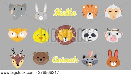Collection Of Cute Funny Animal Faces. Cute Baby Animals In Cartoon Style On A Blue Background. Wild