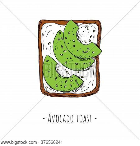 Avocado Toast With Sesame Seeds. Top View. Vector.