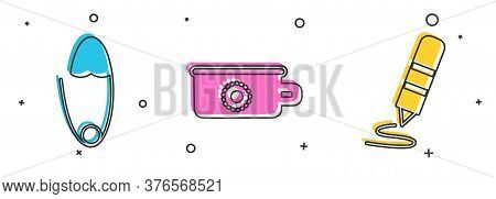 Set Classic Steel Safety Pin, Baby Potty And Wax Crayon For Drawing Icon. Vector