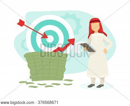 Arab Businessman With Pile Of Money And Growth Diagram, Successful Arabic Investor Or Entrepreneur C