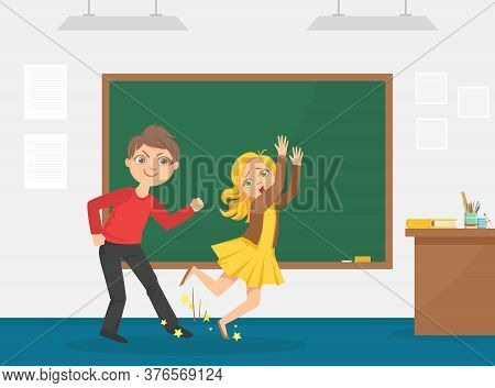 Agressive Boy Tripped His Classmate, Bullying And Mocking At School, Conflict Between Children Carto