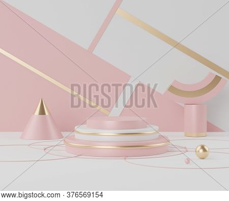 3d Rendering Of Empty Podium In Coral Pink Color. Blank Pedestal And Shopfront With Clean Design. Mi
