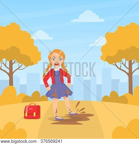 Girl Jumping In Mud Puddle, Kids Aggressive Uncontrollable Behavior Cartoon Vector Illustration