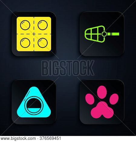Set Paw Print, Dog And Pills, Pet Bed And Dog Muzzle. Black Square Button. Vector
