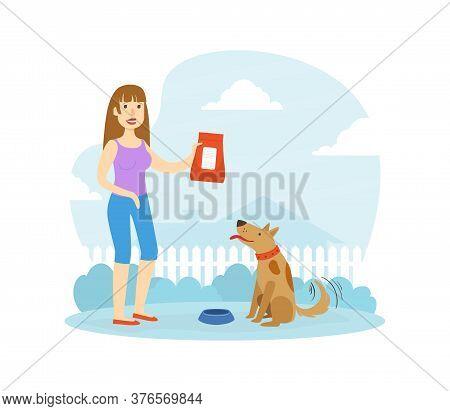Smiling Woman Owner Feeding Her Dog In Backyard Flat Vector Illustration
