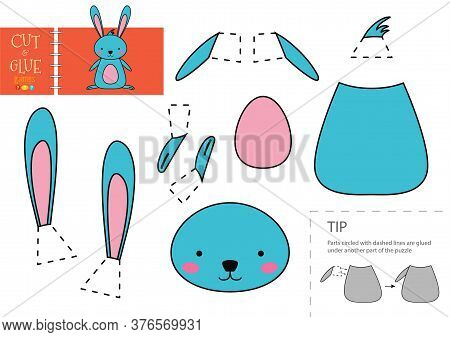 Cut And Glue Paper Vector Toy. Funny Rabbit Character As A Cardboard Cutout Model