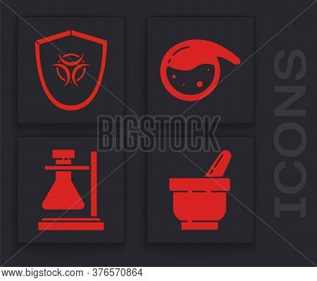 Set Mortar And Pestle, Biohazard Symbol On Shield, Test Tube And Flask Chemical And Test Tube Flask