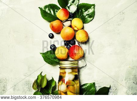 Iced Tea With Apricot, Blueberry And Ice, Food Background, Top View