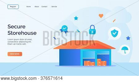Secure Storehouse Warehouse Icon Campaign For Web Website Home Homepage Landing Template Banner With