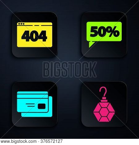 Set Earring, Page With A 404 Error, Credit Card And Fifty Discount Percent Tag. Black Square Button.