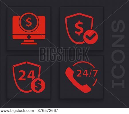 Set Telephone 24 Hours Support, Computer Monitor With Dollar, Shield With Dollar And Shield With Dol