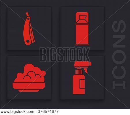 Set Hairdresser Pistol Spray Bottle, Straight Razor, Shaving Gel Foam And Shaving Gel Foam Icon. Vec