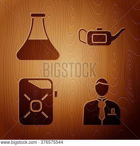 Set Businessman Or Stock Market Trader, Oil Petrol Test Tube, Canister For Motor Oil And Canister Fo
