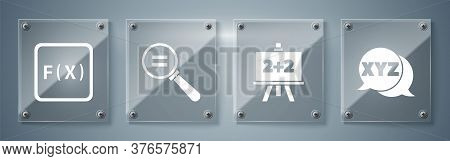 Set Xyz Coordinate System, Chalkboard, Calculation And Function Mathematical Symbol. Square Glass Pa