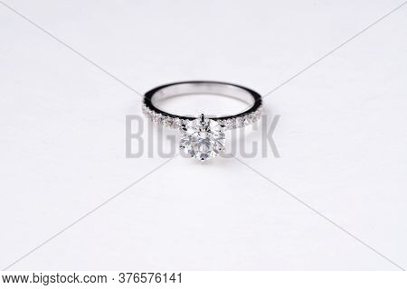 Precious Diamond Engagement Ring On The White Background