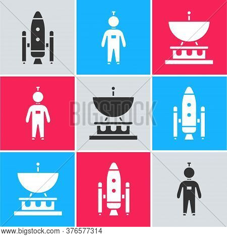 Set Space Shuttle And Rockets, Astronaut And Satellite Dish Icon. Vector