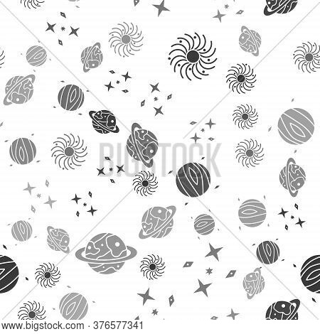 Set Black Hole, Falling Stars, Planet Venus And Planet Saturn On Seamless Pattern. Vector