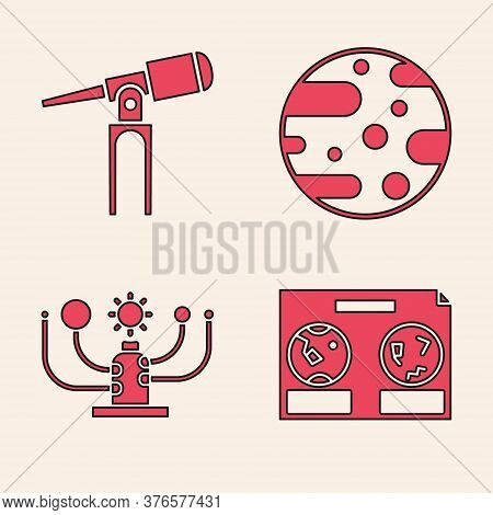 Set Celestial Map Of The Night Sky, Telescope, Planet Mars And Solar System Icon. Vector