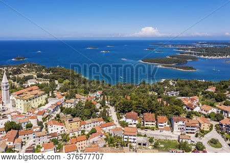 An Aerial Shot Of Coastal City Vrsar, A Lot Of Small Islands In Background, Istria, Croatia