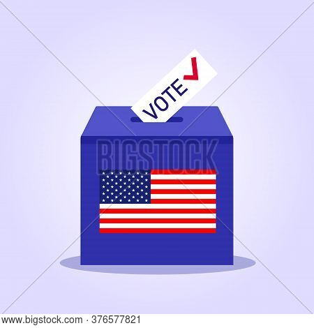 United States elections. US midterm elections 2020: the race for Congress. Elections to US Senate in 2020, preparation of vote against the background of a blurred American flag. 2020 vote presidential election vector template. Presidential Election 2020 i