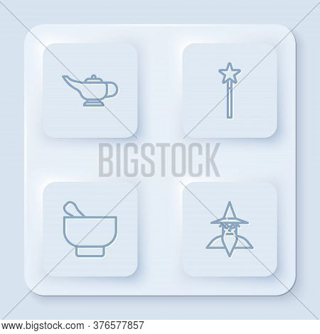 Set Line Magic Lamp Or Aladdin, Wand, Mortar Pestle And Wizard Warlock. White Square Button. Vector