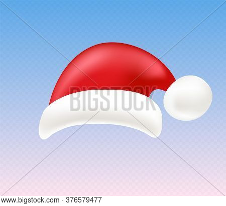 Santa Hat, Bright Design Template. Christmas Decoration Element In A Realistic Cartoon Style.