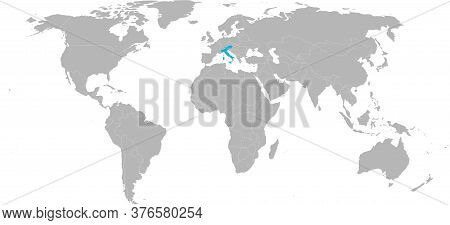 Austria, Italy Countries Isolated On World Map. Light Gray Background. Travel Backgrounds.