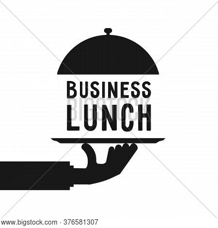 Business Lunch Like Black Hand Serve. Simple Trend Modern Cater Foodie Word Logotype Graphic Cartoon