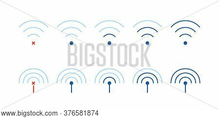 Set Of Weak Or Strong Wifi Signal. Flat Stroke Trend Modern Online And Offline Logotype Graphic Line