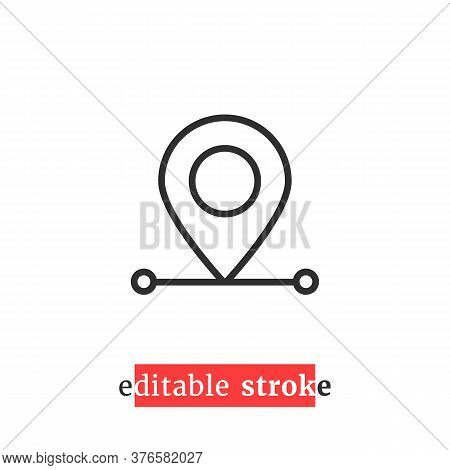 Minimal Editable Stroke Destination Pin Icon. Flat Change Line Thickness Logotype Graphic Lineart De