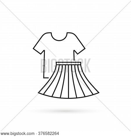 Thin Line Icon Recycled T-shirt And Skirt. Flat Lineart Style Trend Modern Cloth Logotype Graphic Ar