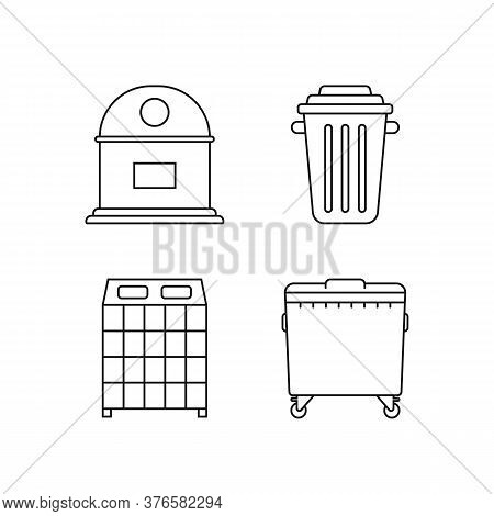 Set Of Garbage Bins For Recycle Waste. Lineart Flat Trend Modern Minimal Graphic Art Design Isolated