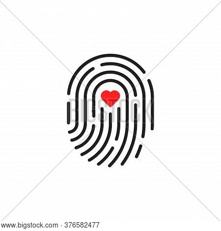 Fingerprint Logo Like Pulse Beat. Concept Of Press For Personal Biorhythm Tracking And Touchscreen I