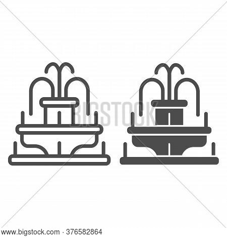 Fountain Line And Solid Icon, Amusement Park Concept, Park Fountain Sign On White Background, Water