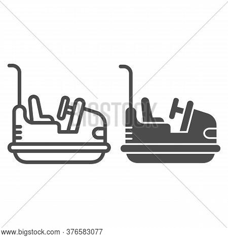 Bumper Car Line And Solid Icon, Amusement Park Concept, Electric Machine For Racetrack Sign On White