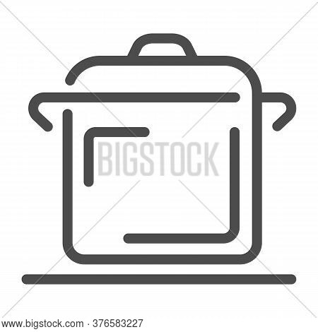 Cooking Pan Line Icon, Kitchen Appliances Concept, Saucepan Sign On White Background, Pot Icon In Ou