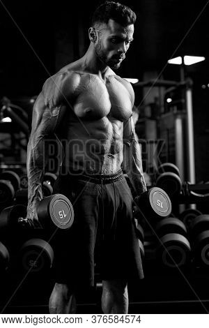 Monochrome Portrait Of Shirtless Tensed Male Bodybuilder Holding Dumbbells In Arms, Looking Down. Si
