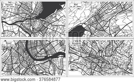 Basel, Biel, Lausanne and Geneva Switzerland City Maps Set in Black and White Color in Retro Style. Outline Maps.