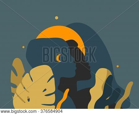 Hand Drawn Vector Abstract Stock Graphic Illustration With Young Black African American Beauty Peopl