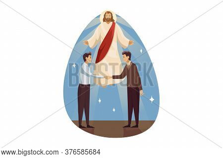 Religion, Support, Business, Christianity, Meeting Concept. Jesus Christ Son Of God Blessing Helps Y