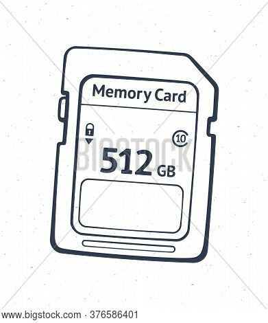 Outline Of Compact Memory Card. Vector Illustration. Flash Drive. Modern Storage Of Digital Informat
