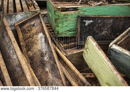 A Close Up Image, Showing The Details Of A Discarded Beekeeping Hive, Which Is Made Of Wood,  That W