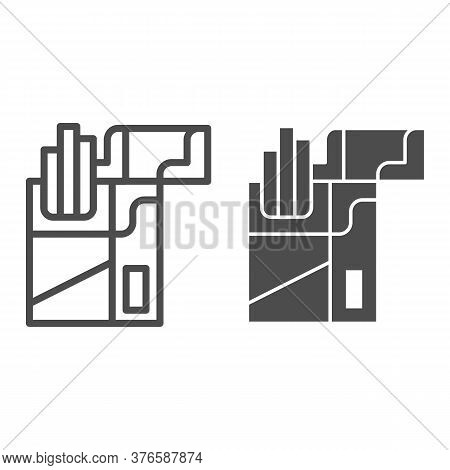 Pack Of Cigarettes Line And Solid Icon, Market Concept, Open Cigarette Pack Sign On White Background