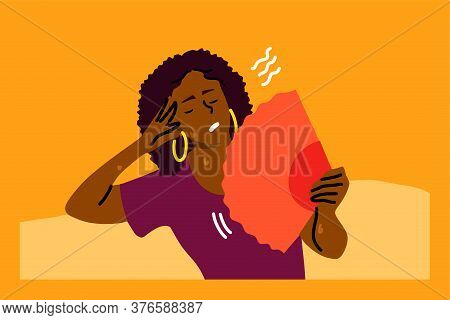 Mental Stress, Heat, Dehydration, Inconvenience Concept. Stressed Exhaustion Annoyed Young Woman Sit